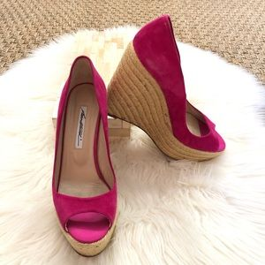 Brian Atwood Fuchsia Suede Espadrille Wedges 39